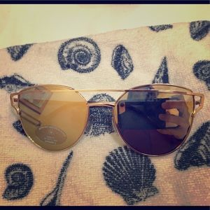 Aldo Gold Oversized Reflective Aviator Sunglasses